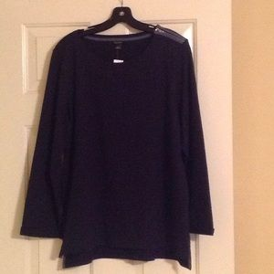 NWT Ann Taylor Navy Top with Shoulder Zip Size XL